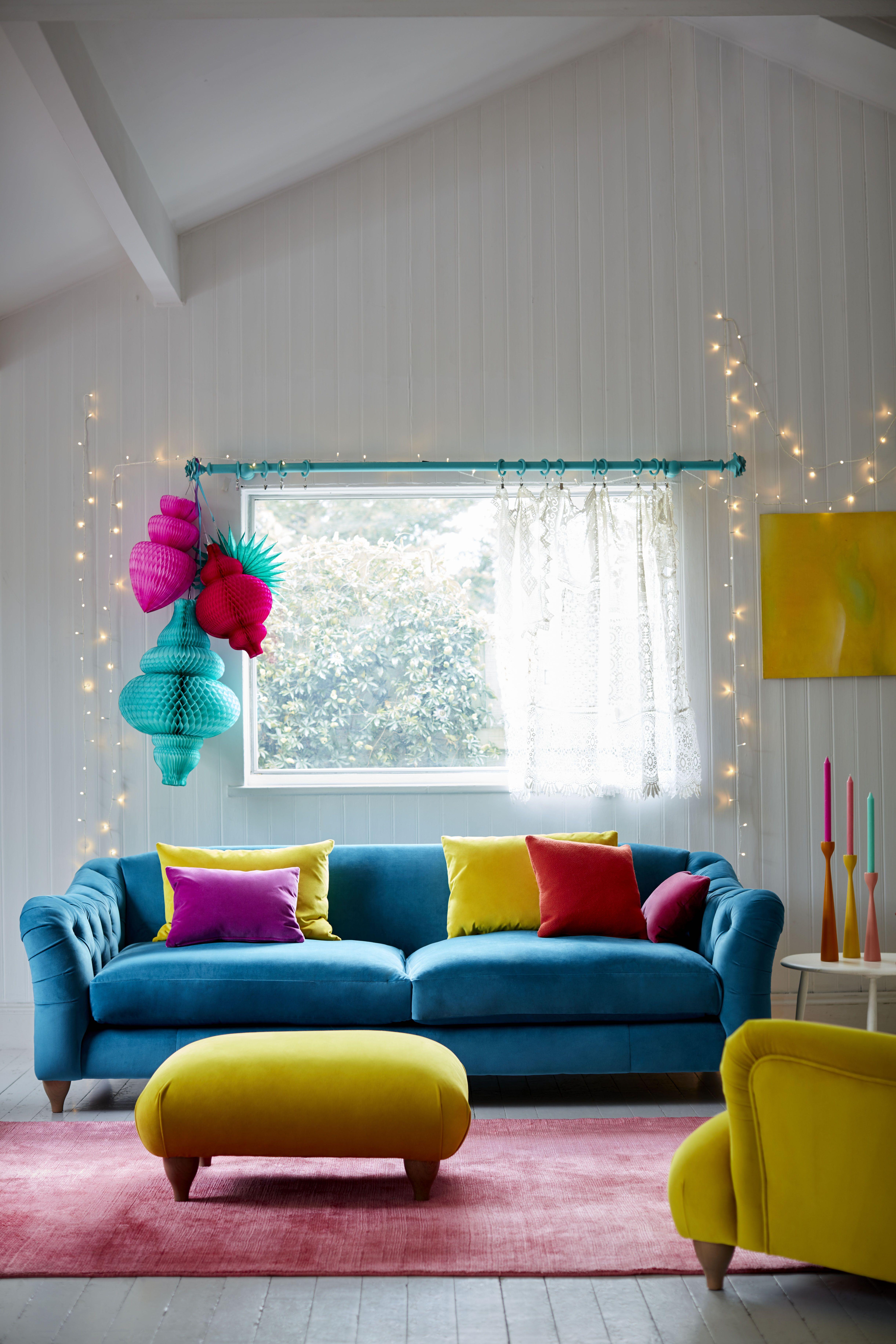 Raffles 4 Seater Sofa Classic Velvet Colourful Living Room Chesterfield Style Sofa Classic Sofa