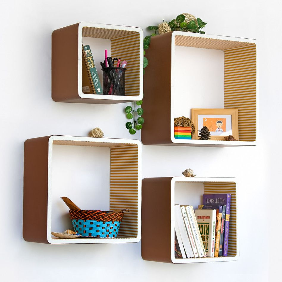 Creative idea awesome modern square wall shelves for for Creative shelf ideas