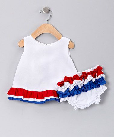Girls Patriotic Red White Blue Ruffle Cotton Bloomers for Girls and Babies Hairbows Unlimited