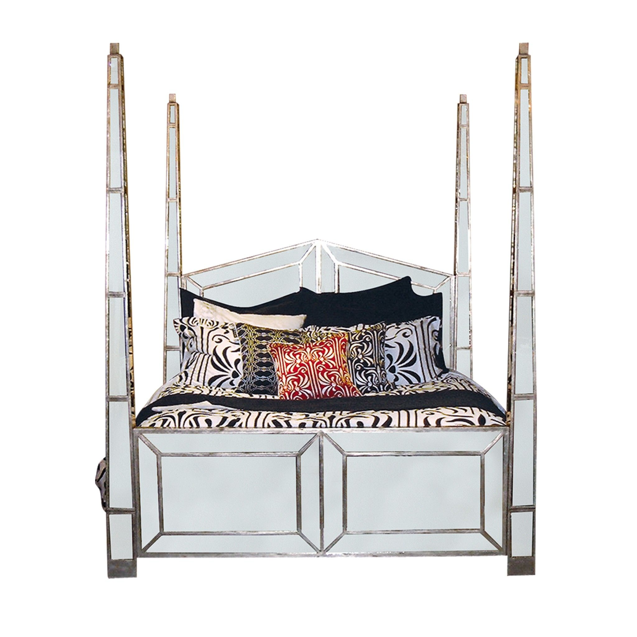 Dynasty Four Poster Mirrored Bed Bedroom Furniture Shops Furniture Bed