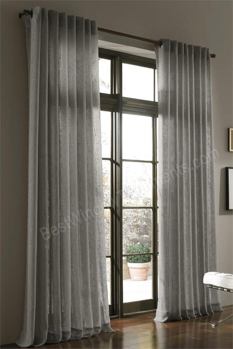 108 Inch Curtain Panels Belgique Lightweight Woven Linen Blend Fabric In Solid Colors