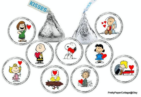 108 SNOOPY Birthday Party Favors Stickers Labels for Hershey Kiss