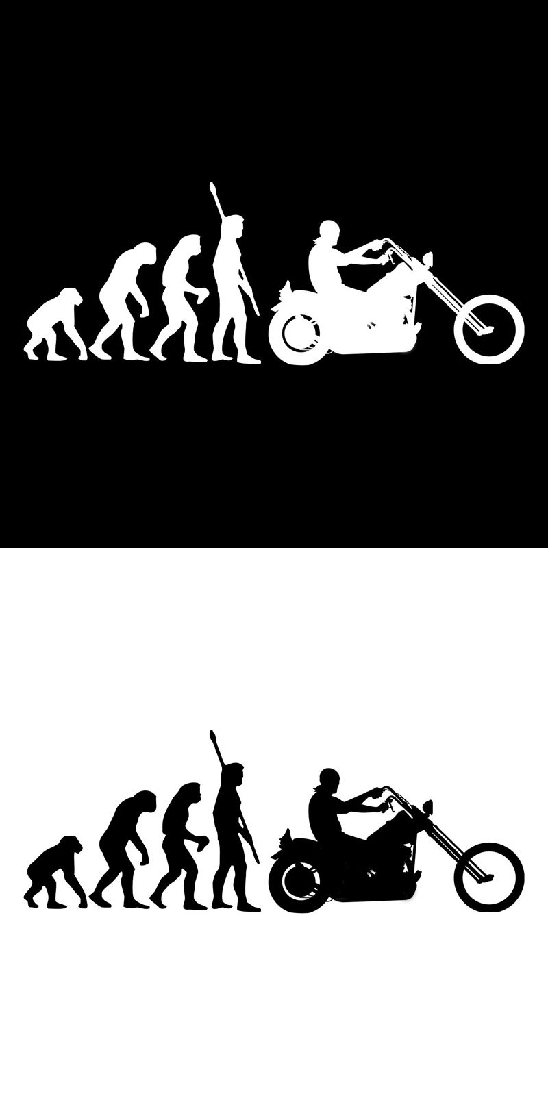 Motorcycle sticker fashion human evolution motorcycle car stickers fun reflective vinyl decals black silver
