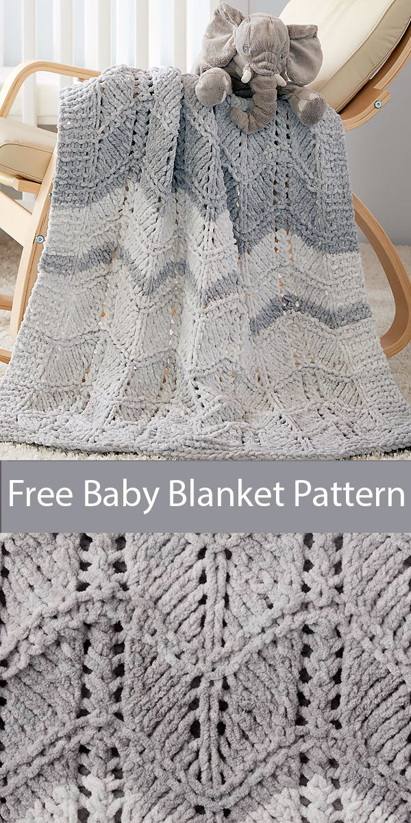 Free Knitting Pattern for Easy Quick Dappled Lacy Chevrons Knit Baby Blanket