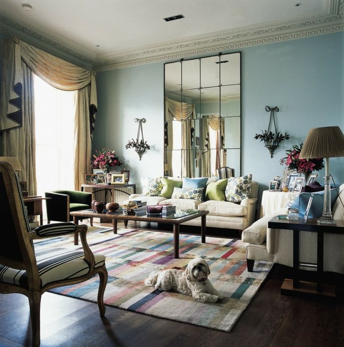 Wandgestaltung Ideen Wohnzimmer Farbiger Teppich Wandspiegel