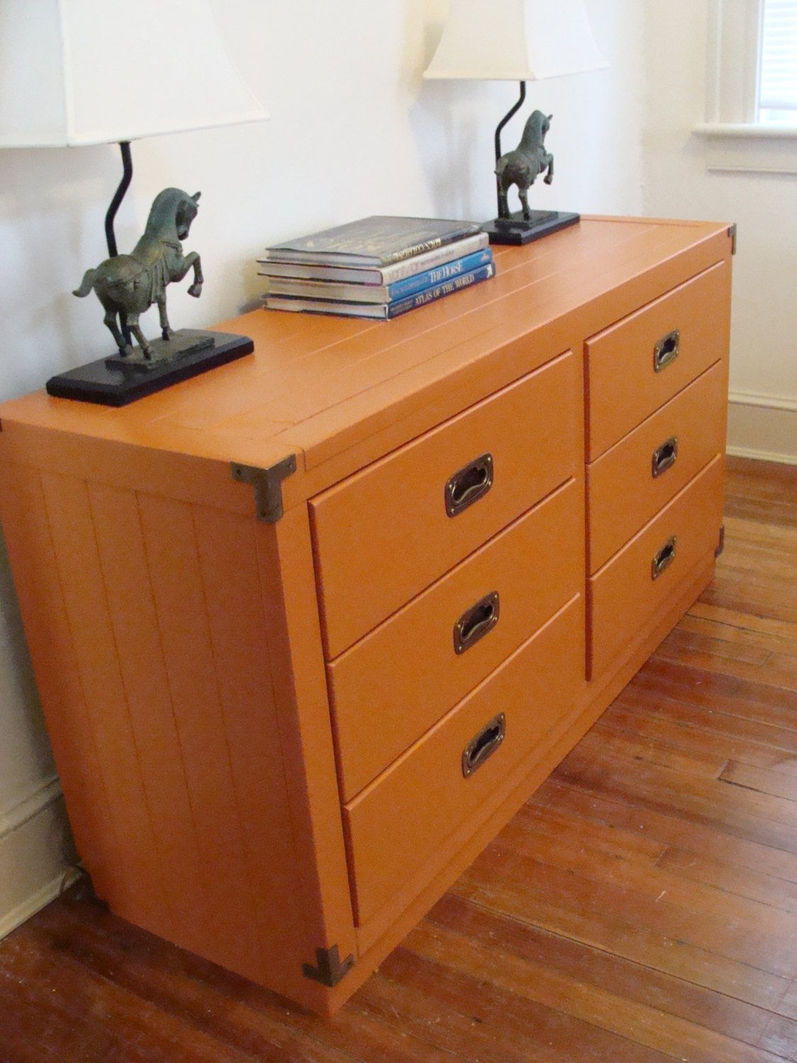 Vintage 6 Drawer Dresser Tangerine Young Hinkle Credenza Campaign Style Solid Wood Chest SOLD Via Colorful FurniturePainted