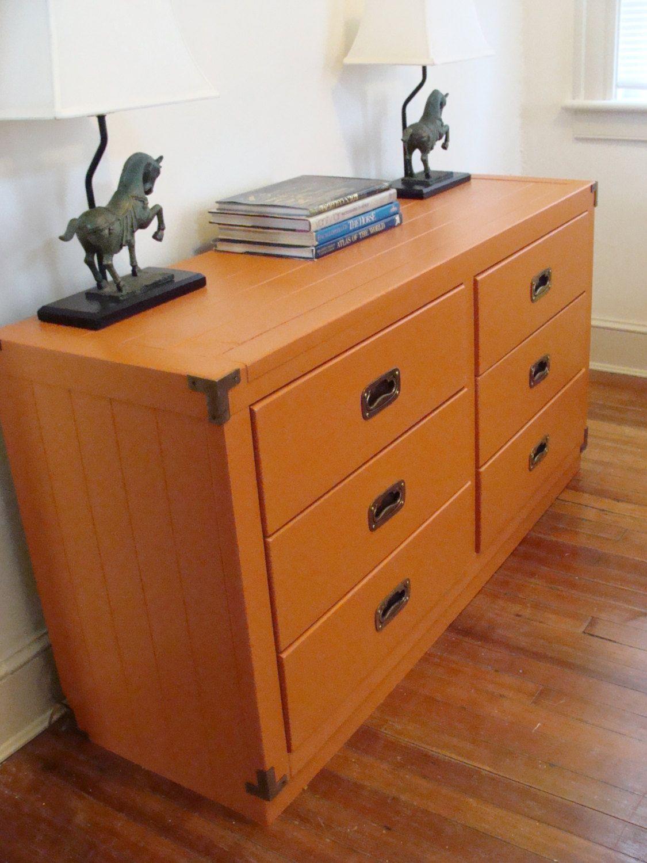 Vintage 6 Drawer Dresser Tangerine Young Hinkle Credenza Campaign