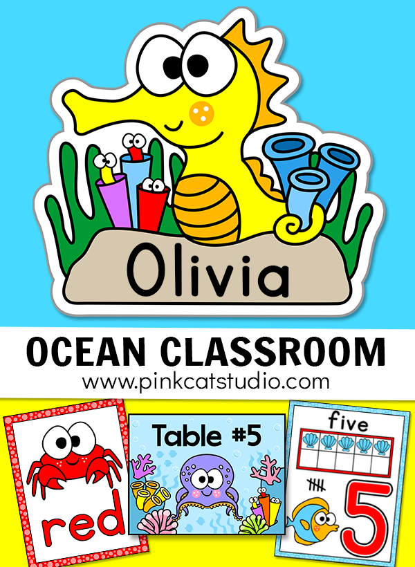 Create a magical Ocean classroom with Pink Cat Studio's