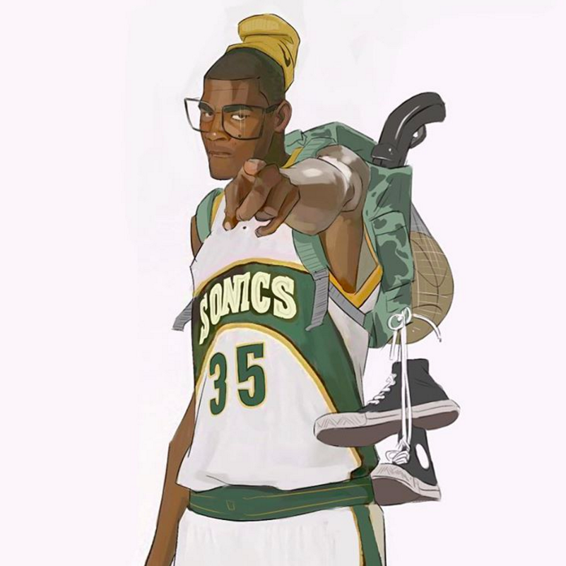 Kevin Durant Supersonic Sniper Illustration Nba Basketball Art Jordan Logo Wallpaper Nba Art