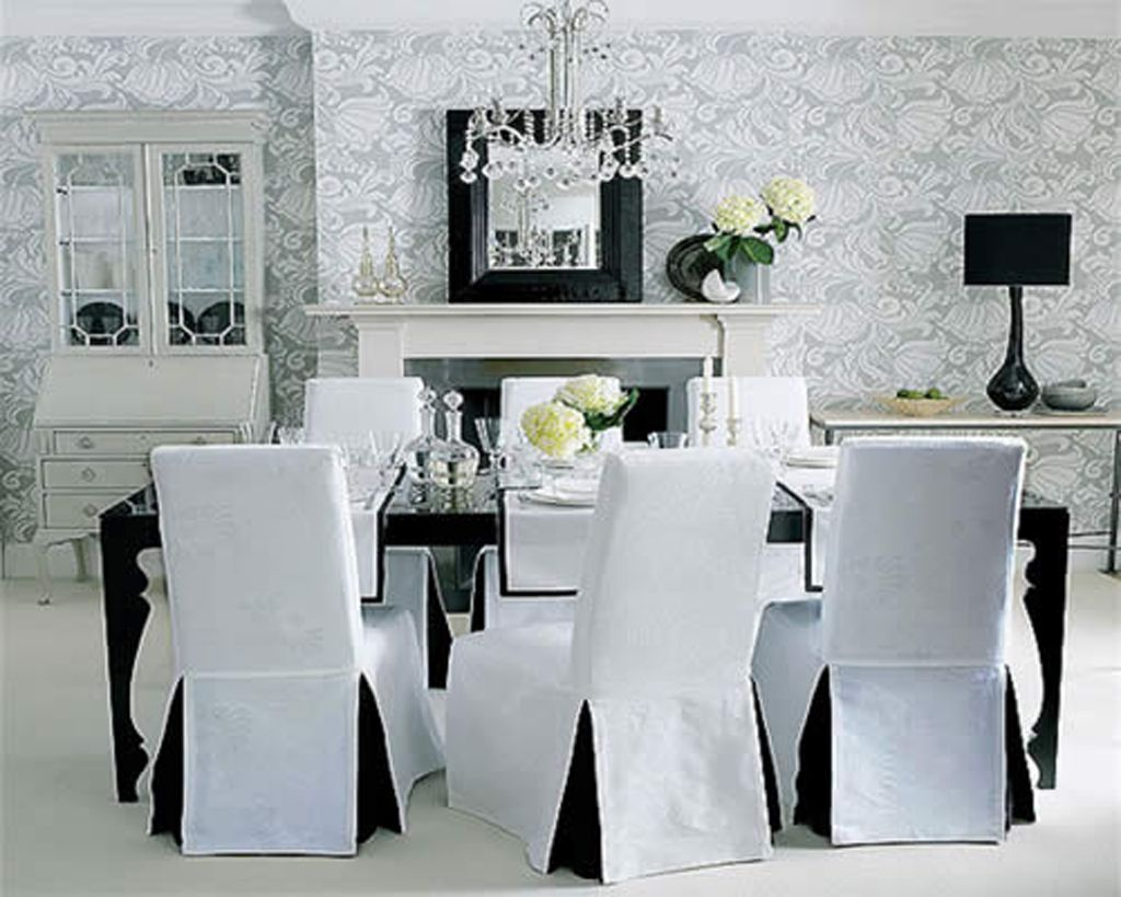 Elegant Black White Dining Room Decoration With Long Skirt Chairs Slip Covers Chandelier