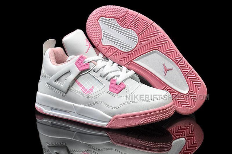 65d111a4c40 Nike Air Jordan 4 Kids White Pink   Nike Air Jordan 4   Nike kids ...