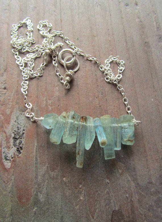 Raw aquamarine crystal necklace, Raw gemstone jewelry ...