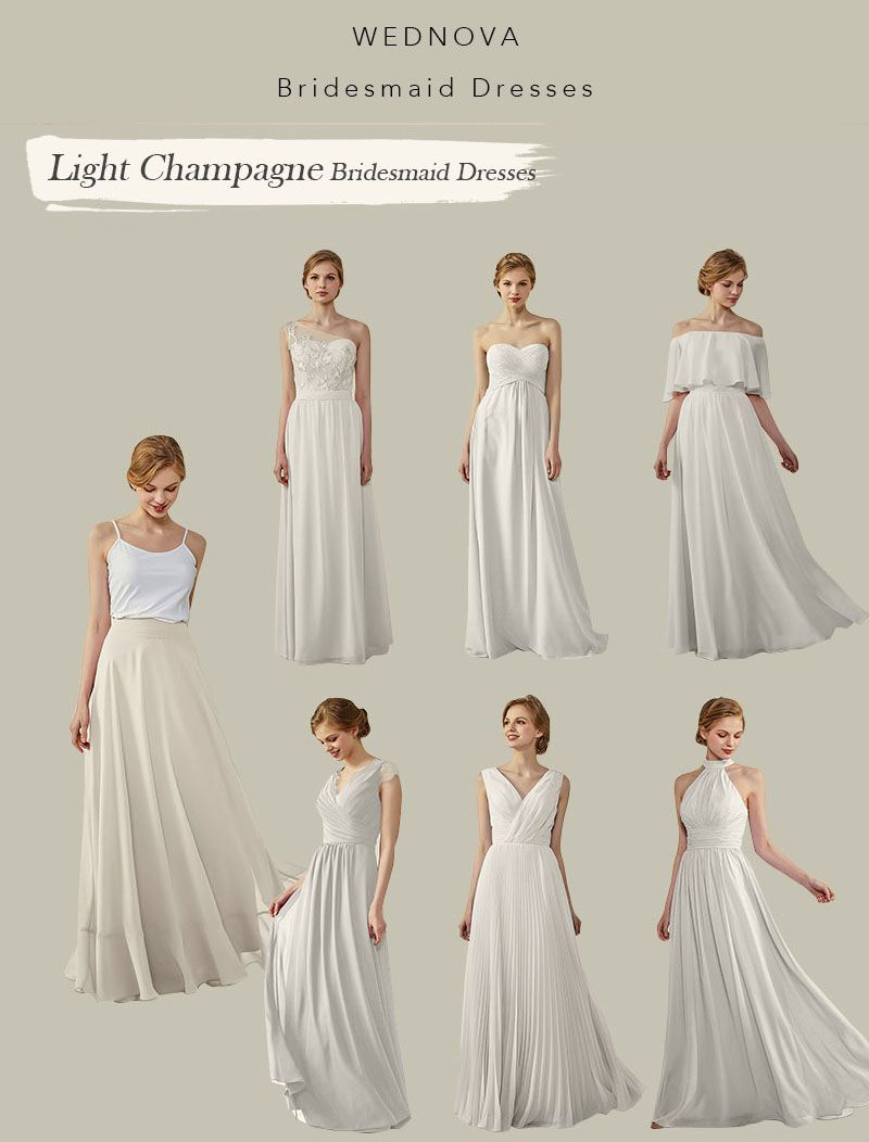 Unique light champagne bridesmaid dresses long different styles v