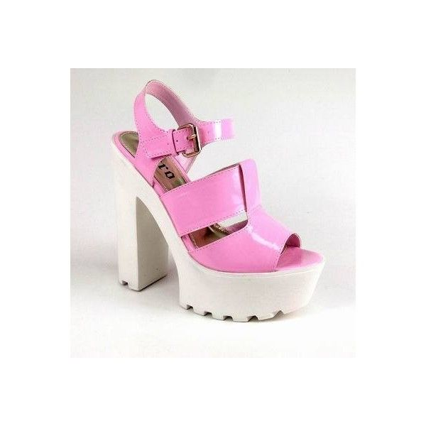 Pastel Pink Patent Platform Sandals With Cleated Sole ($54) ❤ liked on Polyvore featuring shoes, sandals, pink, pink shoes, pink high heel sandals, sling back sandals, high heel shoes and pink sandals