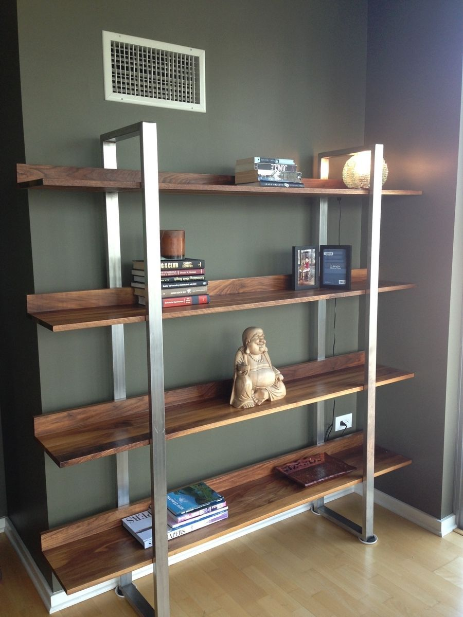 Custom Made Walnut Stainless Steel Modern Bookcase Stainless