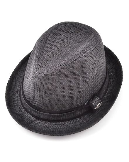 Unisex / Black Fedora / Solid Paper W/ Self 2tone Band / 100% Paper / Small To Medium