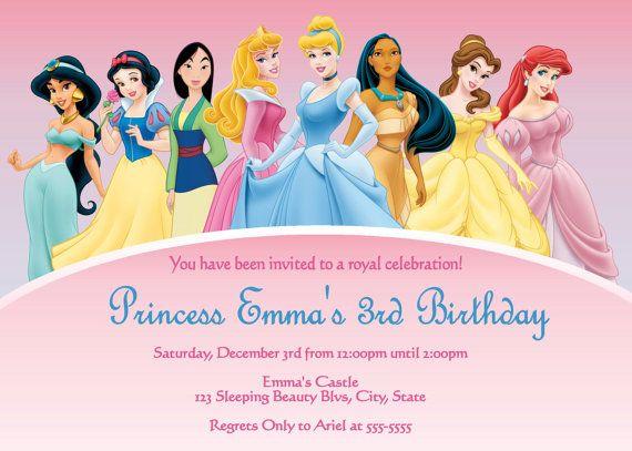 Invitation Princess Birthday Invitations Princess Party Invitations Disney Princess Invitations