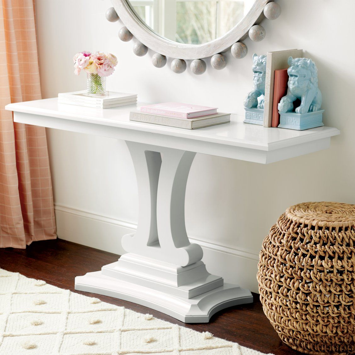 Eva Pedestal Console Table Console Table Cheap Living Room Furniture Entryway Furniture