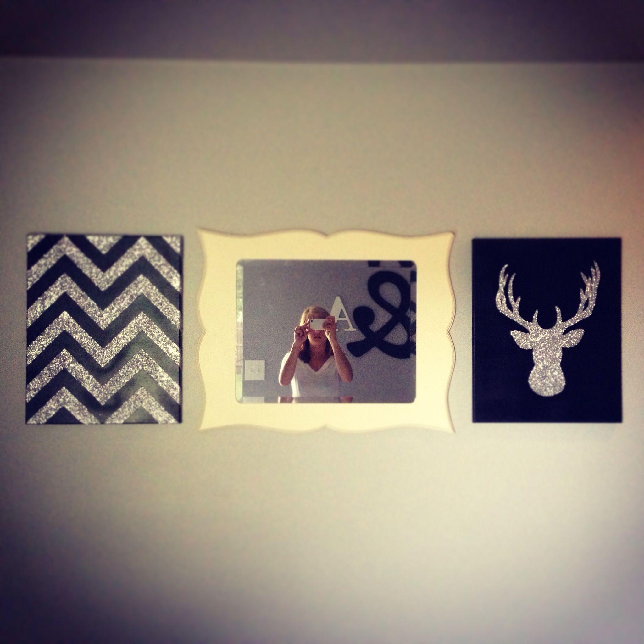 Diy wall decor black chevron silver glitter deer head mp white