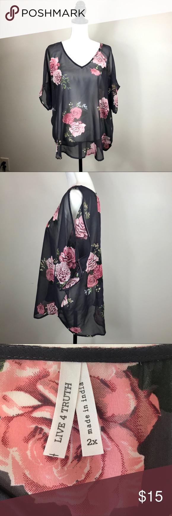 LIVE4TRUTH Off the Shoulder Short Sleeve Black Floral Duster Cardigan