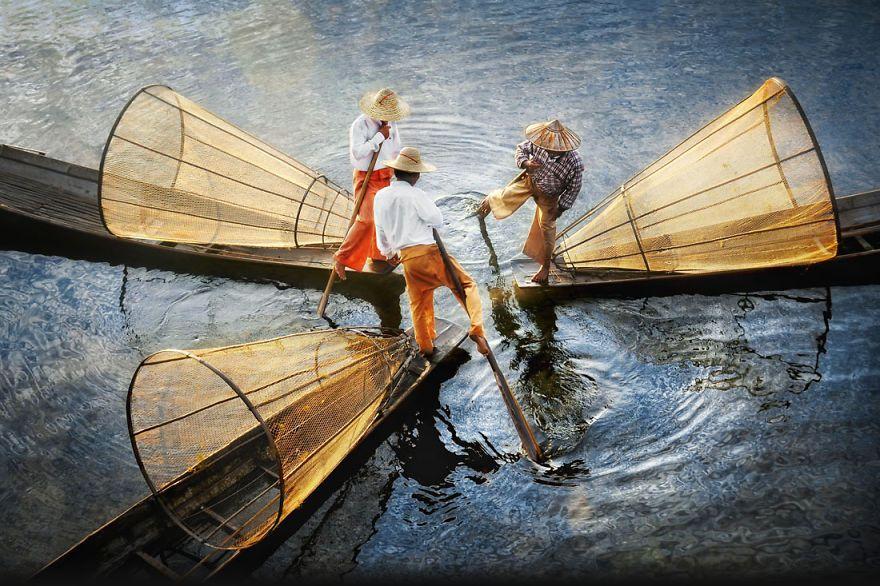 Intha pescadores, Lago Inle