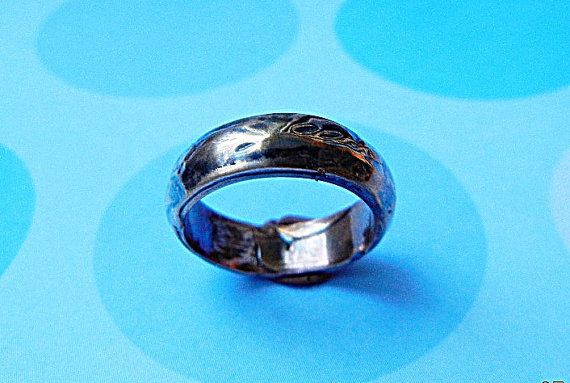 Domed Ring In Heavy Blue Black Patina Rustic Textured Mens Wedding Band