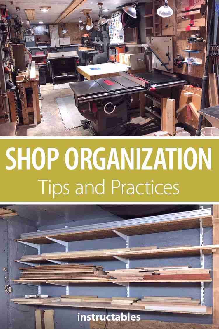 Learn some tips and practices for keeping your workshop organized. #woodworking #workshop #workspace #lumber #tools #organization #storage #shelving