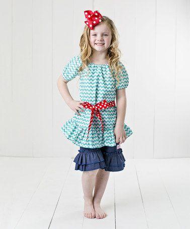 Love this Teal Zigzag Ruffle Top Set - Infant, Toddler & Girls by RuffleGirl on #zulily! #zulilyfinds