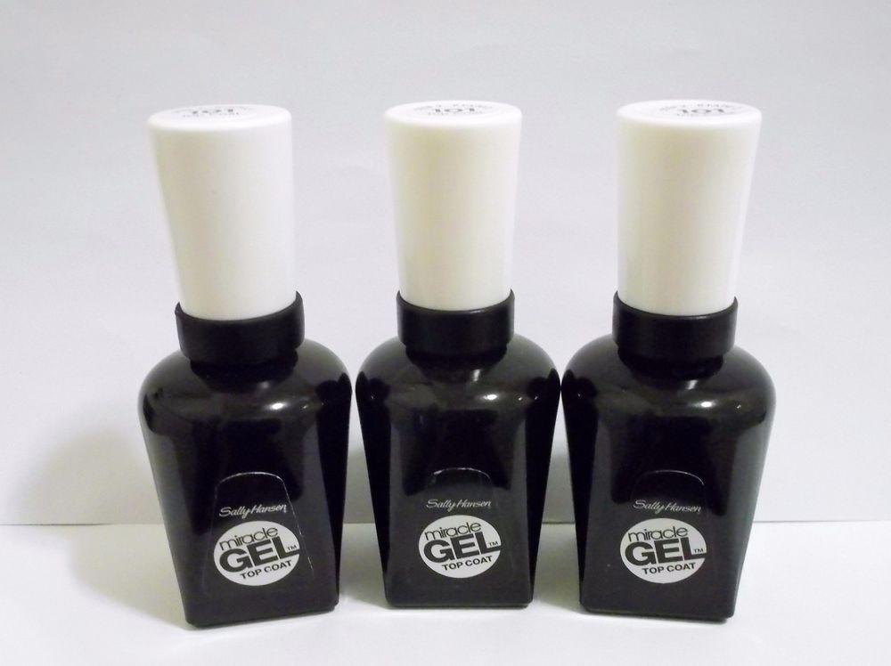 3 Brand New Sally Hansen Miracle Gel Top Coat, Nail Polish Step 2 ...