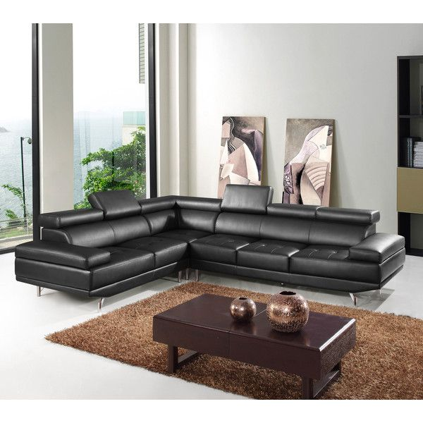 Hokku Designs Oshkosh Leather Sectional Featuring Polyvore Home Furniture Sofas Black Couch Contemporary