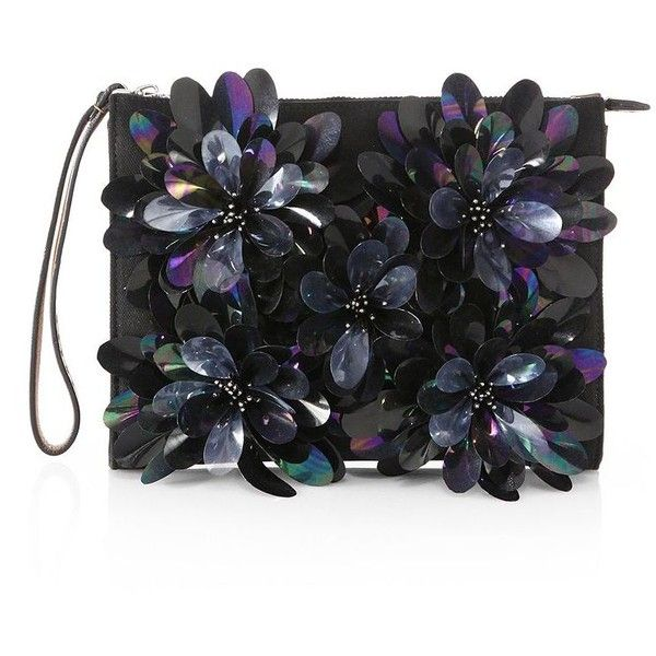 Marni Flower-Embellished Oversized Leather & Denim Clutch (26 085 UAH) ❤ liked on Polyvore featuring bags, handbags, clutches, borse, apparel & accessories, leather handbags, zipper wristlet, zip zip wristlet, leather clutches and leather flower purse