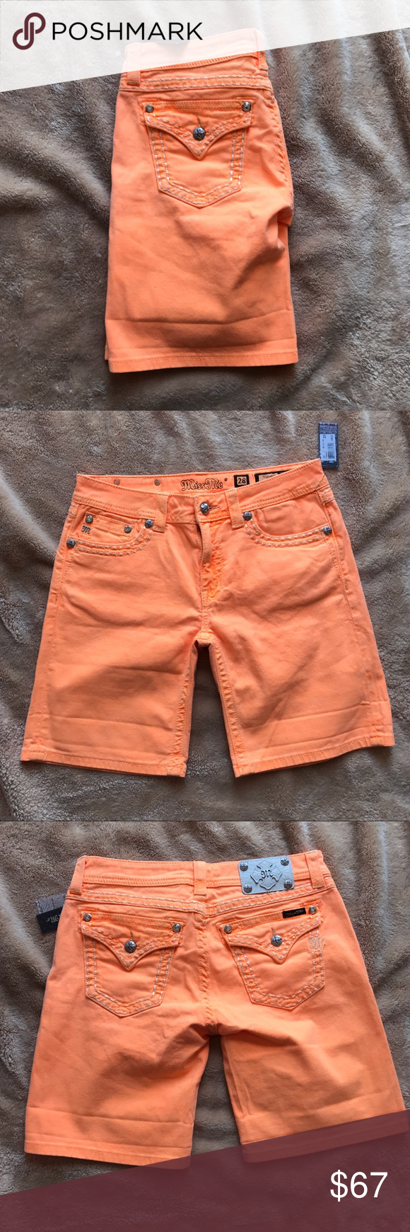 Miss Me Orange Boyfriend Shorts NWT Brand new never worn perfect for spring/fall Miss Me Shorts Jean Shorts
