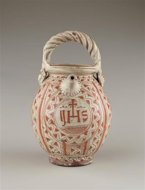 Musée d'Ecouen. Cruche à anse. ECL12862. Italie (origine) Faïence. Ht: 0.235.