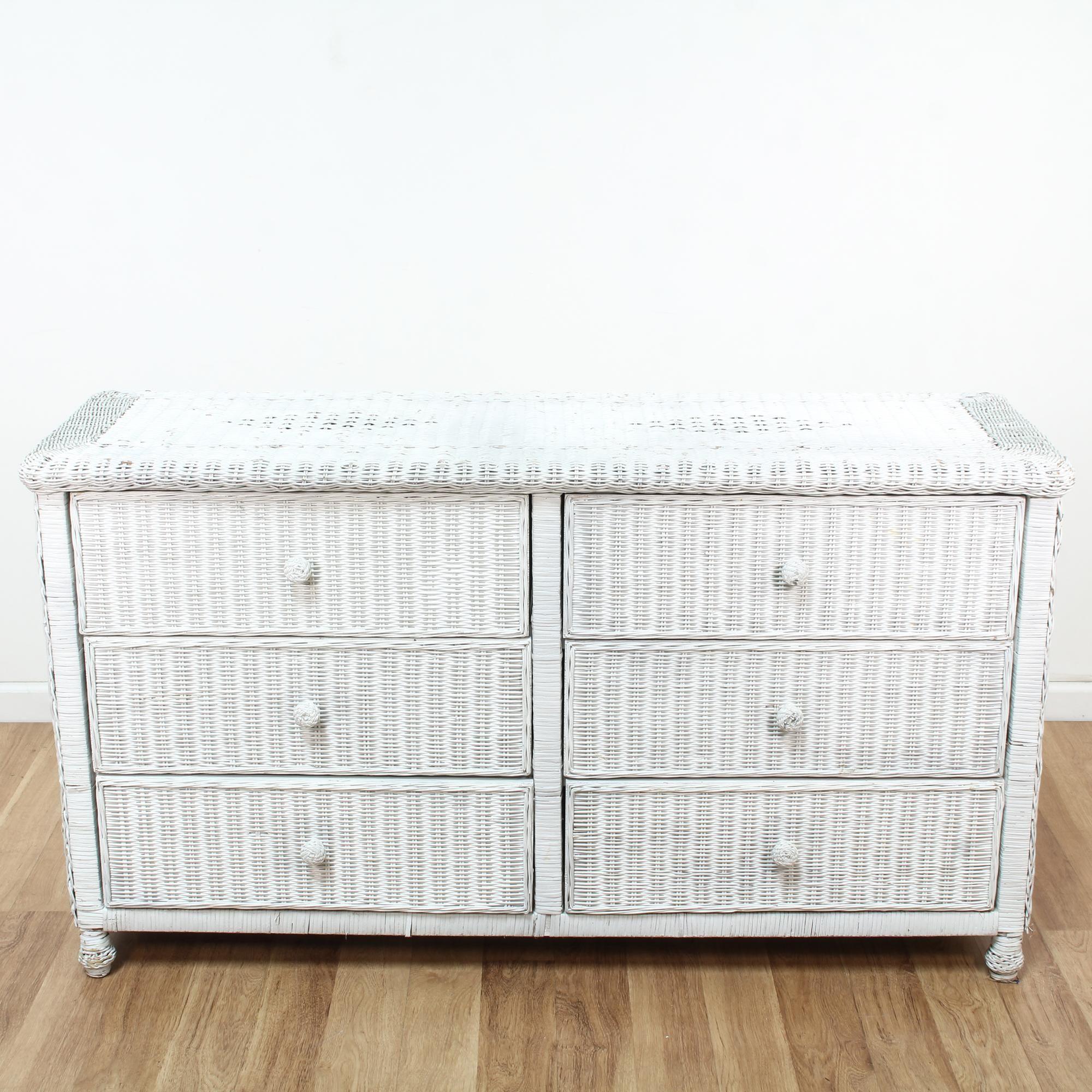Best Long Woven White Wicker 6 Drawer Dresser Shabby Chic 640 x 480
