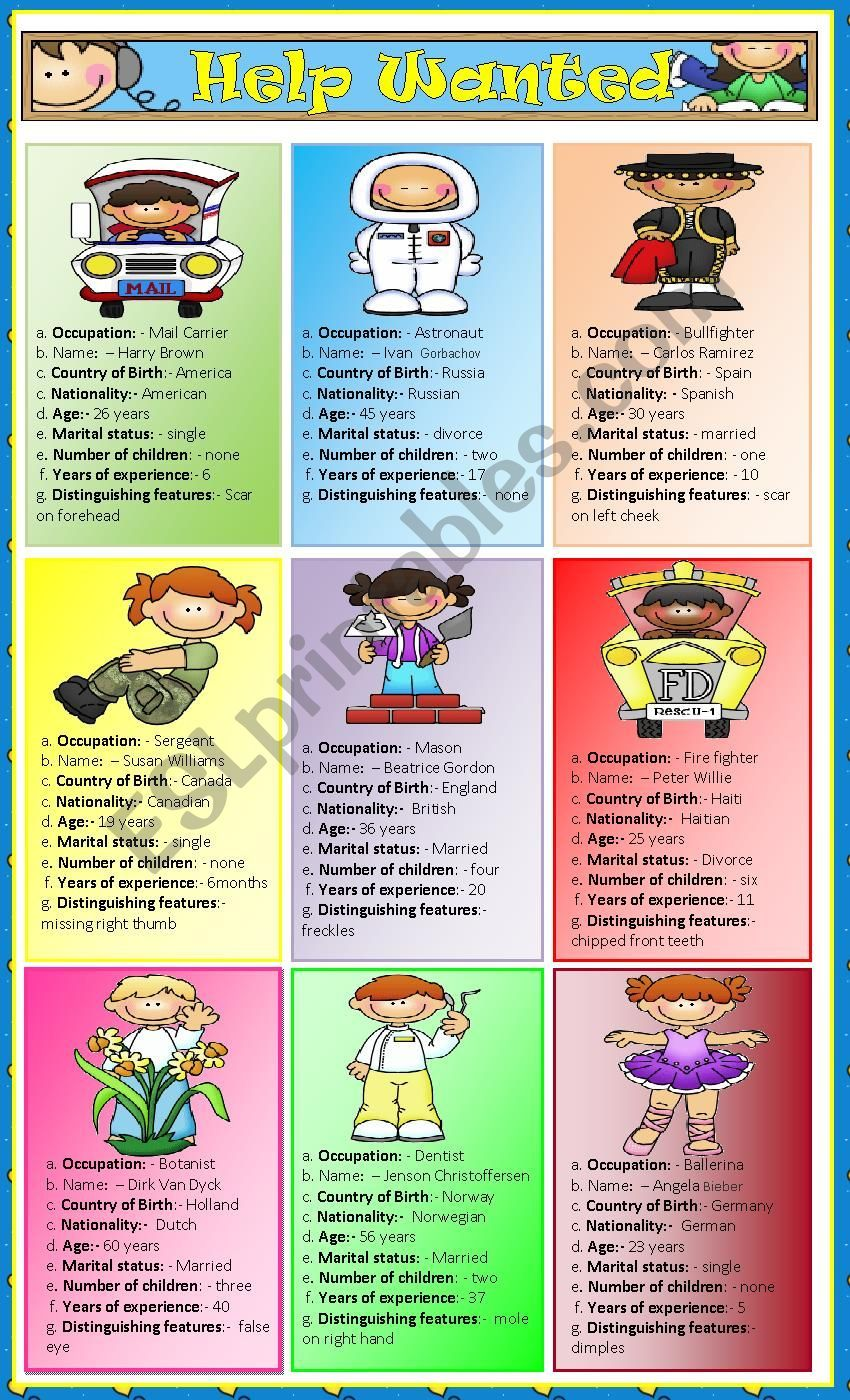 This Set Of Nine Speaking Cards Is Based On Different Occupations It Includes Personal Informat English Teaching Materials Kids Worksheets Printables Roleplay [ 1400 x 850 Pixel ]