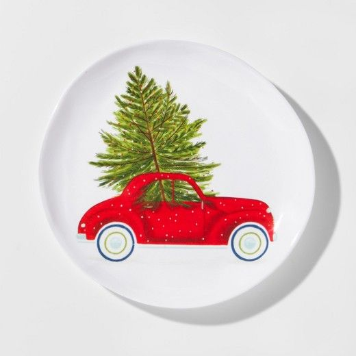 Melamine Car With Tree Appetizer Plate 7 8 Red White Green