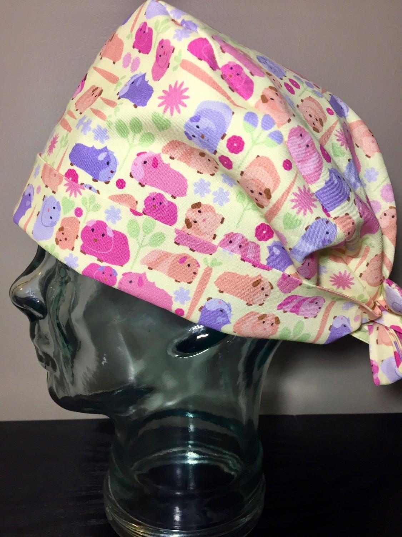 34ca40cdf37e6 Fuchsia   Purple Guinea Pigs on Yellow Surgical Scrub Hat
