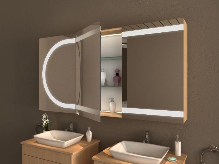 Einzigartiger beleuchteter Spiegelschrank fürs Bad mit LED