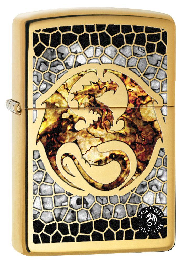 Zippo Lighter Anne Stokes Dragon Fusion High Polish Brass 77583 Zippo Lighter Custom Lighters Anne Stokes