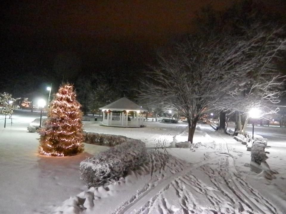 Downtown Palmerton Park after a fresh snowfall, beautiful
