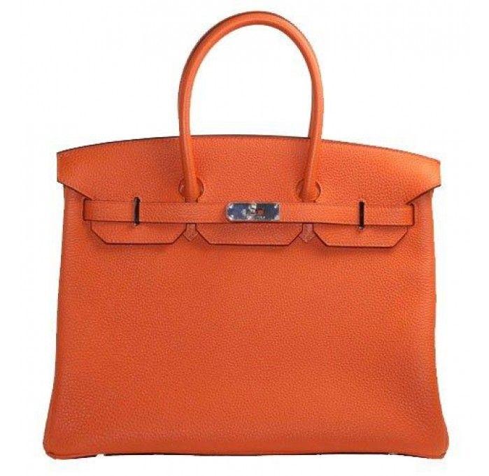 a7688f95df3d Hermes Orange Togo Leather 35cm Birkin Bag with Palladium Hardware ...