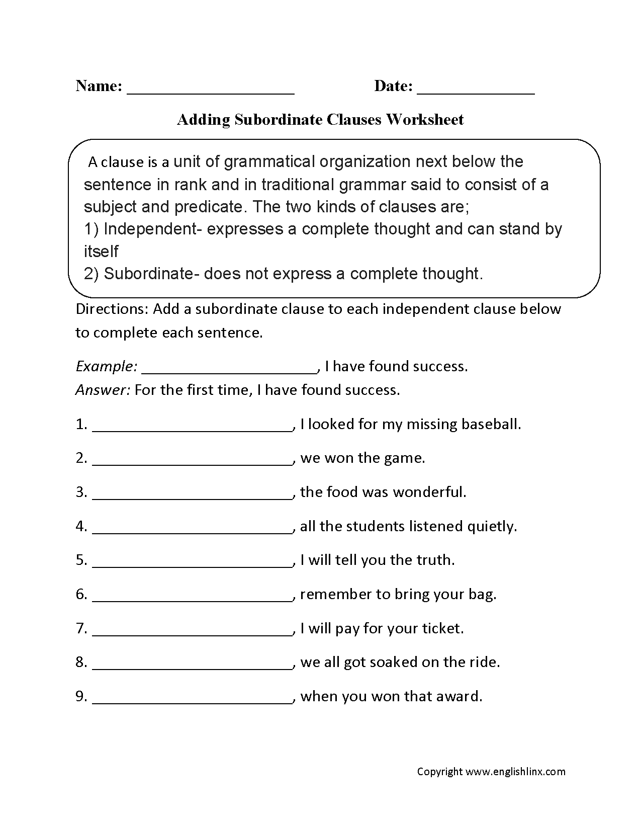 Adding Subordinate Clauses Worksheet