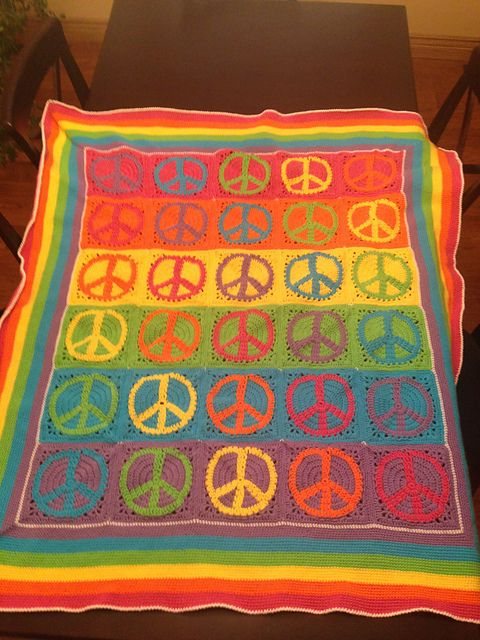 Peace Sign Granny Square Pattern By Judyk 2016 Pinterest