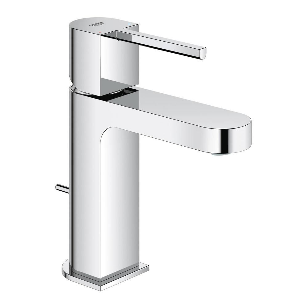 Grohe Plus Single Hole Single Handle Bathroom Faucet With Temperature Limiter In Starlight Chrome 33170003 The Home Depot Single Handle Bathroom Faucet Bathroom Faucets Single Hole Bathroom Faucet