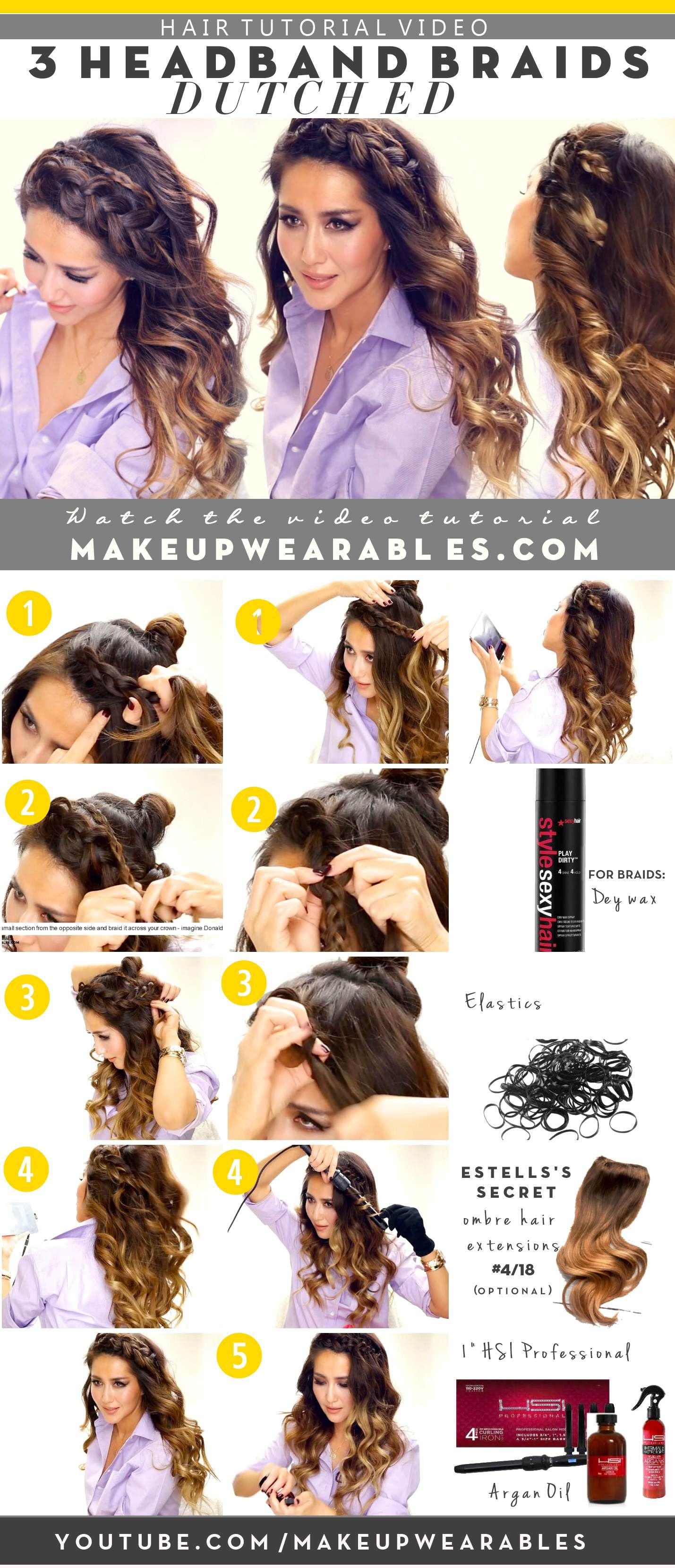 how to 3 quick and easy headband braids - everyday half-updo hairstyles