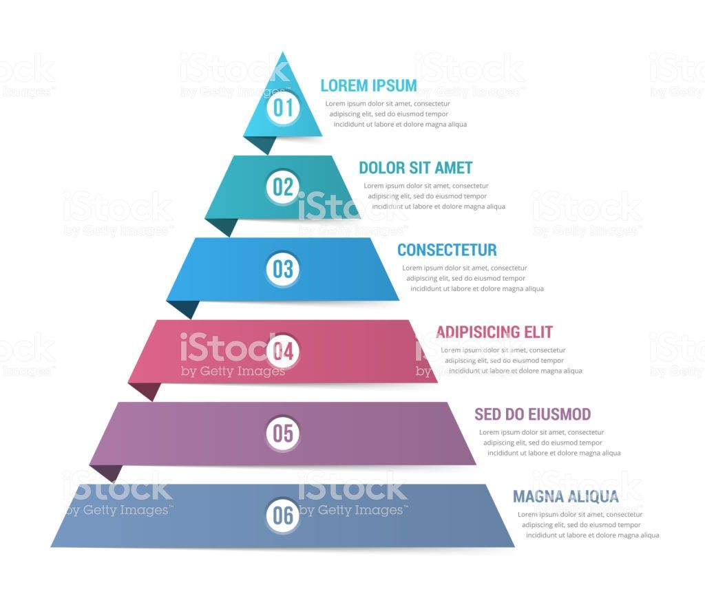 Pyramid Infographic Template With Six Elements Vector Eps10