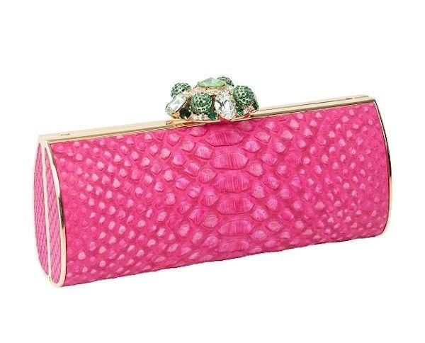 Clutch bag rosa con chiusura gioiello Thal� Blanc
