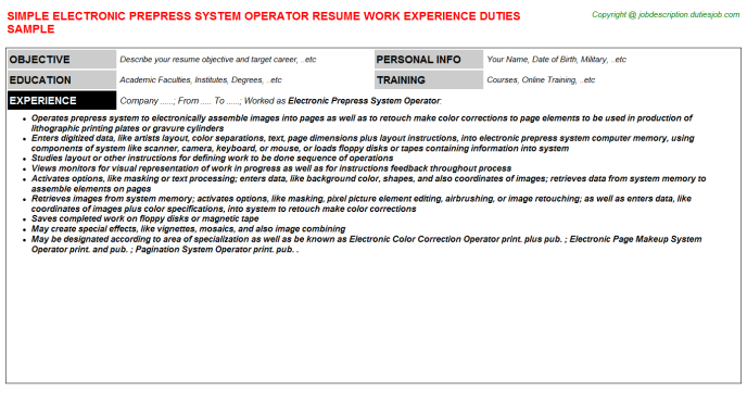 Prepress Technician Resume Sample  HttpWwwResumecareerInfo