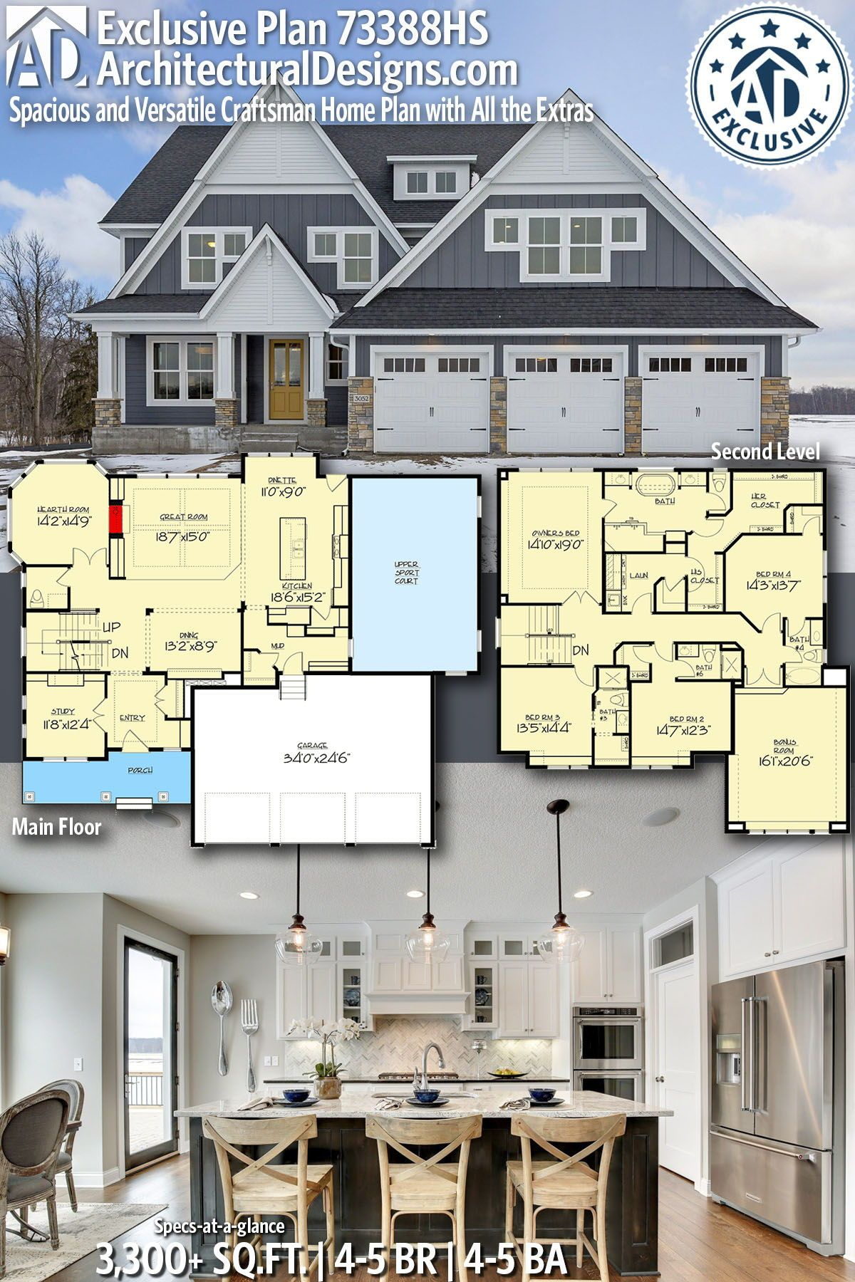 Plan 73388hs Spacious And Versatile Craftsman Home Plan With All The Extras In 2020 Craftsman House Plans House Plans House Blueprints
