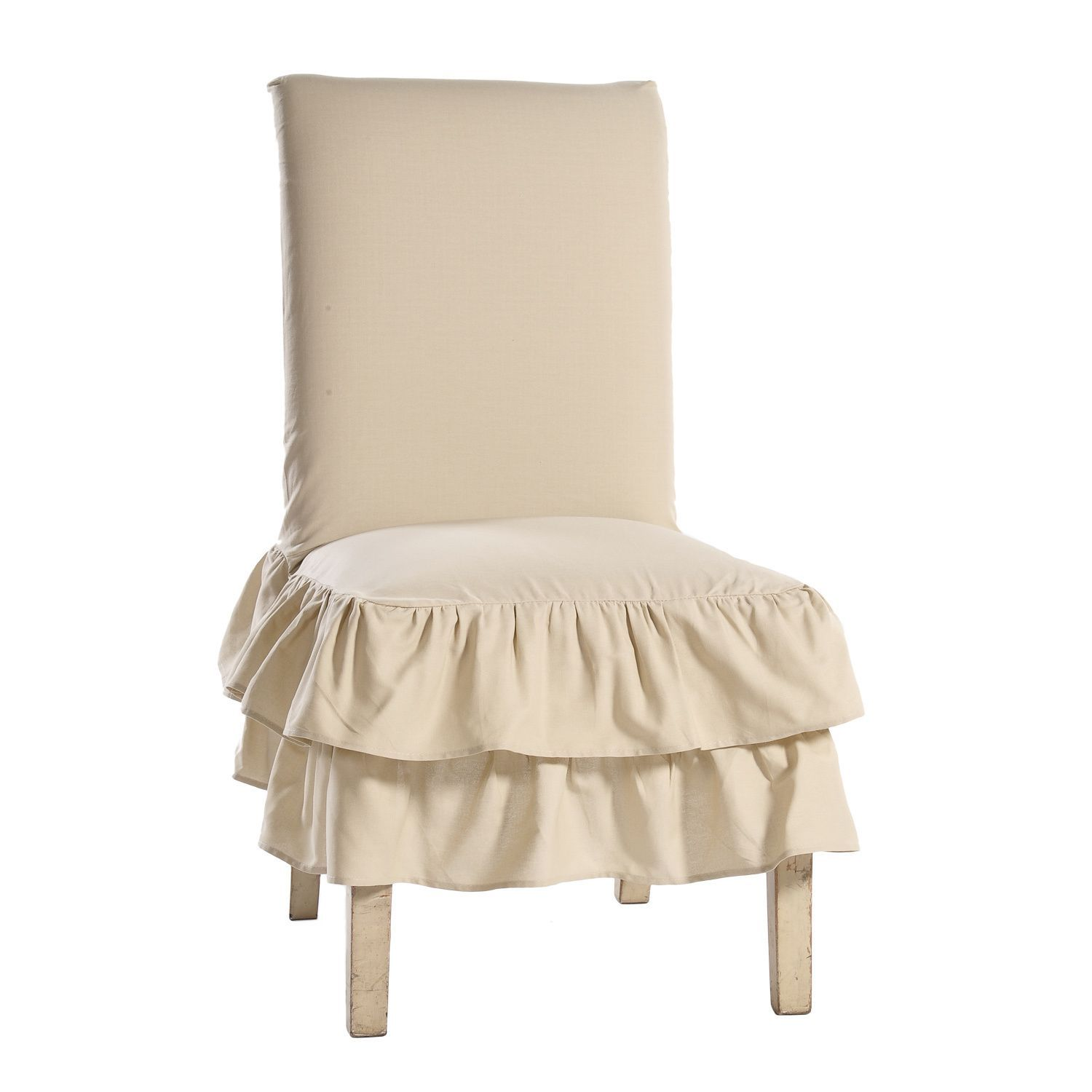 Cotton tiered ruffled dining chair slipcover white